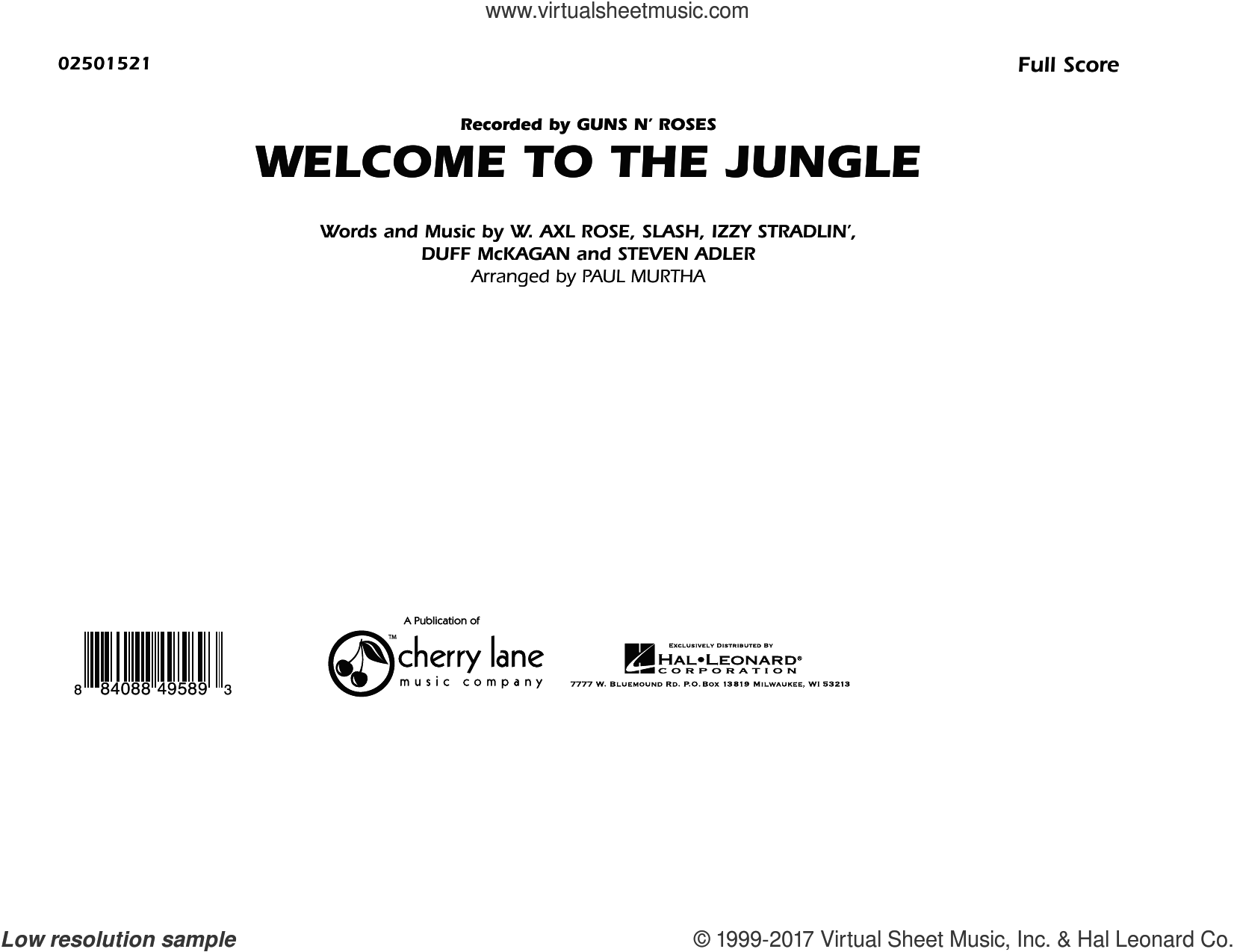 Welcome To The Jungle (COMPLETE) sheet music for marching band by Slash, Axl Rose, Duff McKagan, Steven Adler and Paul Murtha, intermediate skill level