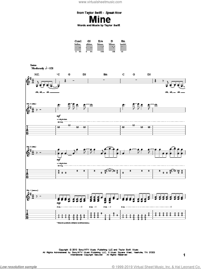 Mine sheet music for guitar (tablature) by Taylor Swift. Score Image Preview.