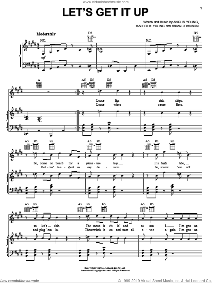 Let's Get It Up sheet music for voice, piano or guitar by AC/DC and Brian Johnson, intermediate. Score Image Preview.
