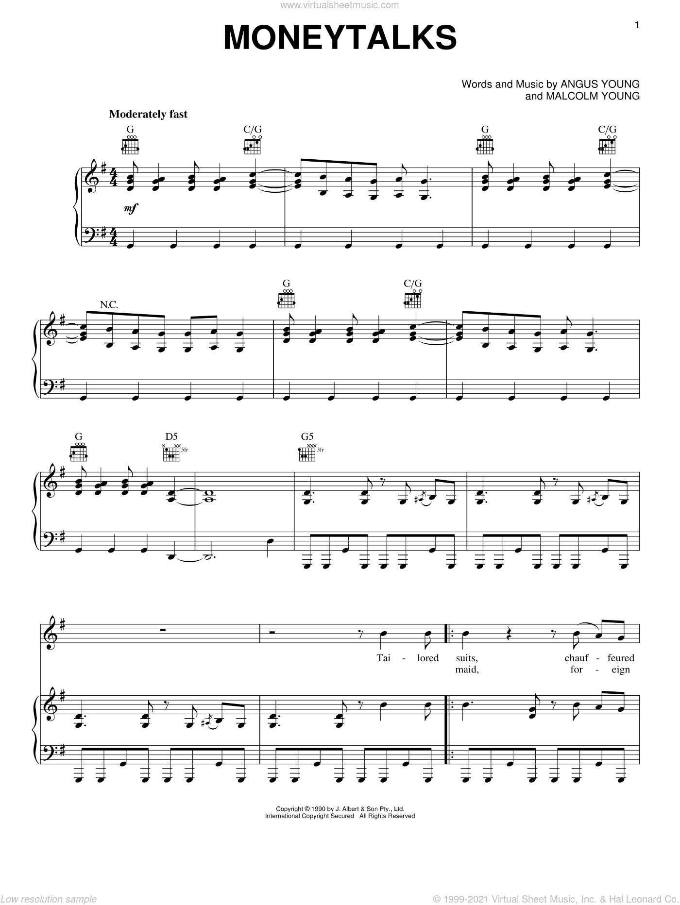 Moneytalks sheet music for voice, piano or guitar by Malcolm Young