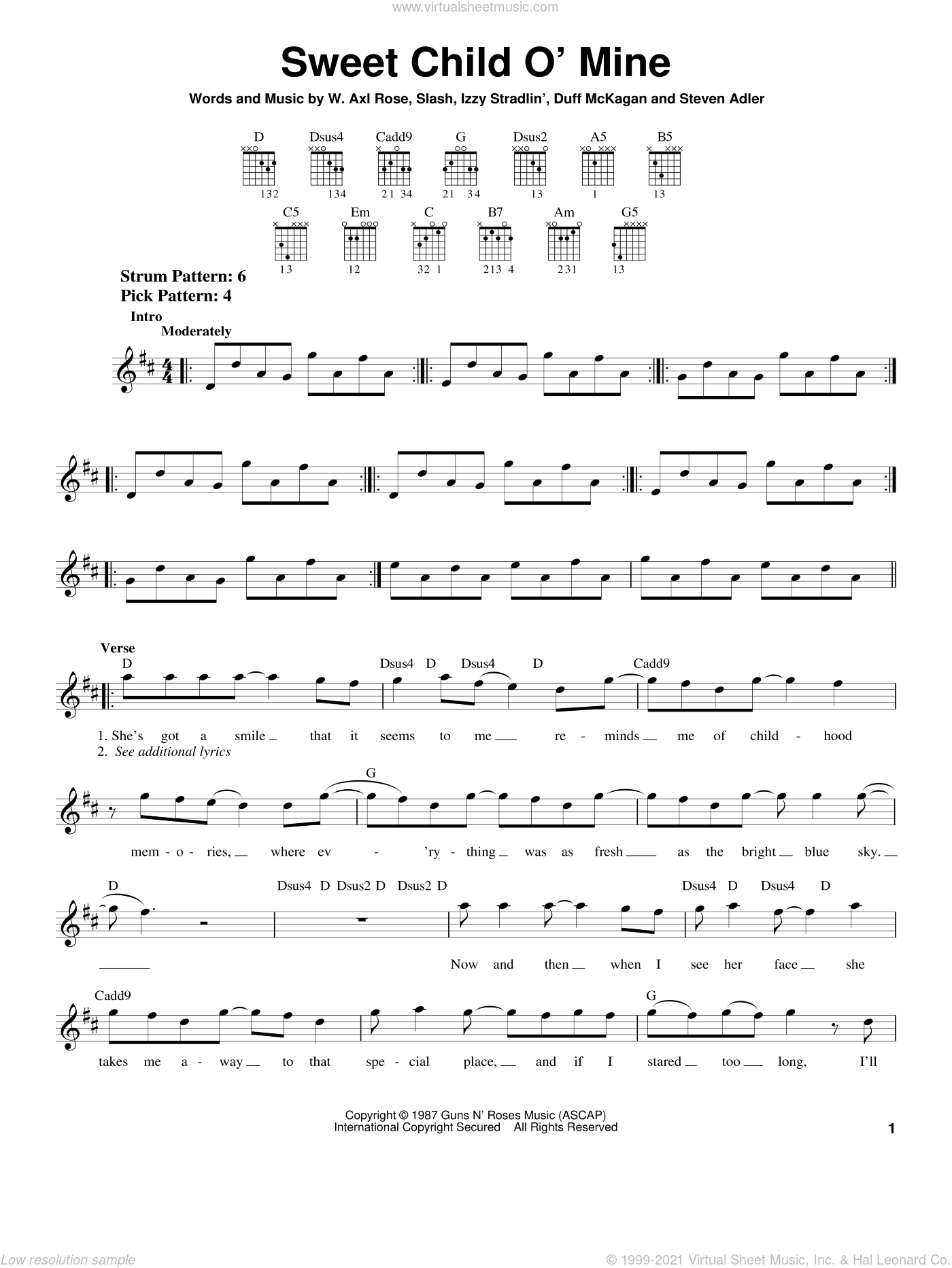 Sweet Child O' Mine sheet music for guitar solo (chords) by Guns N' Roses, Axl Rose, Duff McKagan, Slash and Steven Adler, easy guitar (chords). Score Image Preview.