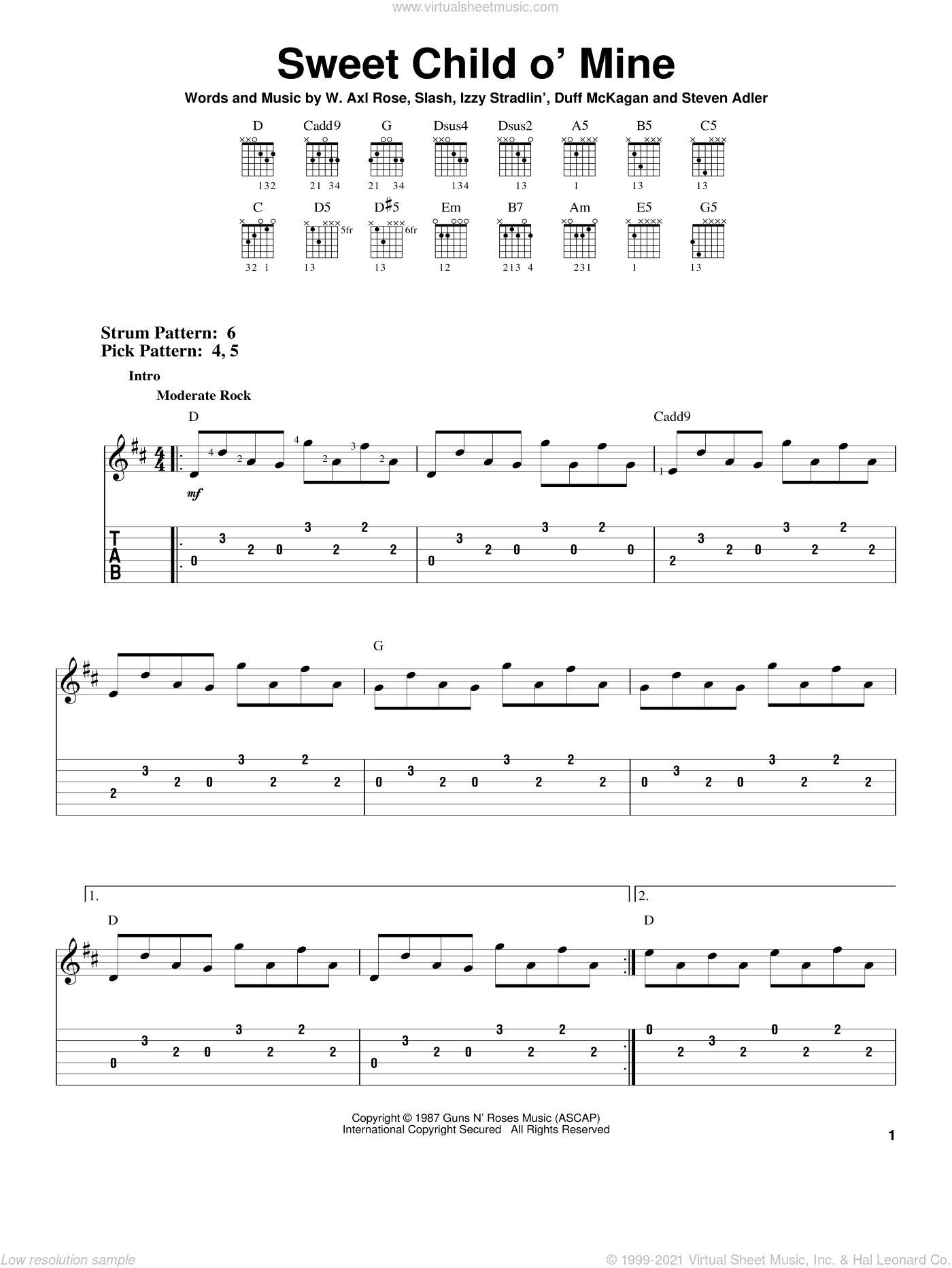 Sweet Child O' Mine sheet music for guitar solo (easy tablature) by Axl Rose, Duff McKagan, Slash and Steven Adler. Score Image Preview.