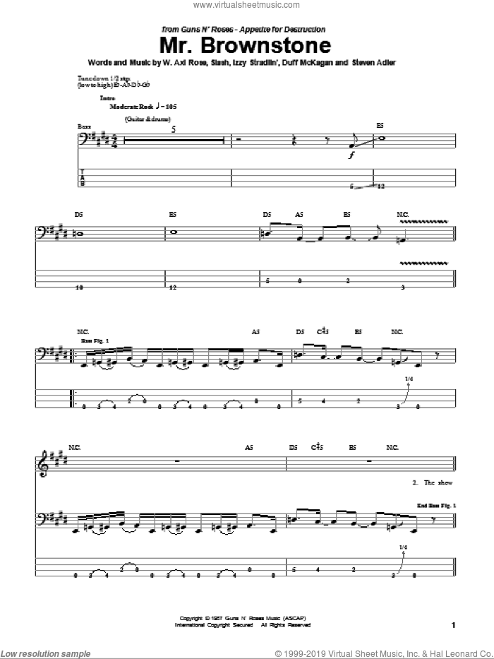 Mr. Brownstone sheet music for bass (tablature) (bass guitar) by Axl Rose, Duff McKagan, Slash and Steven Adler. Score Image Preview.