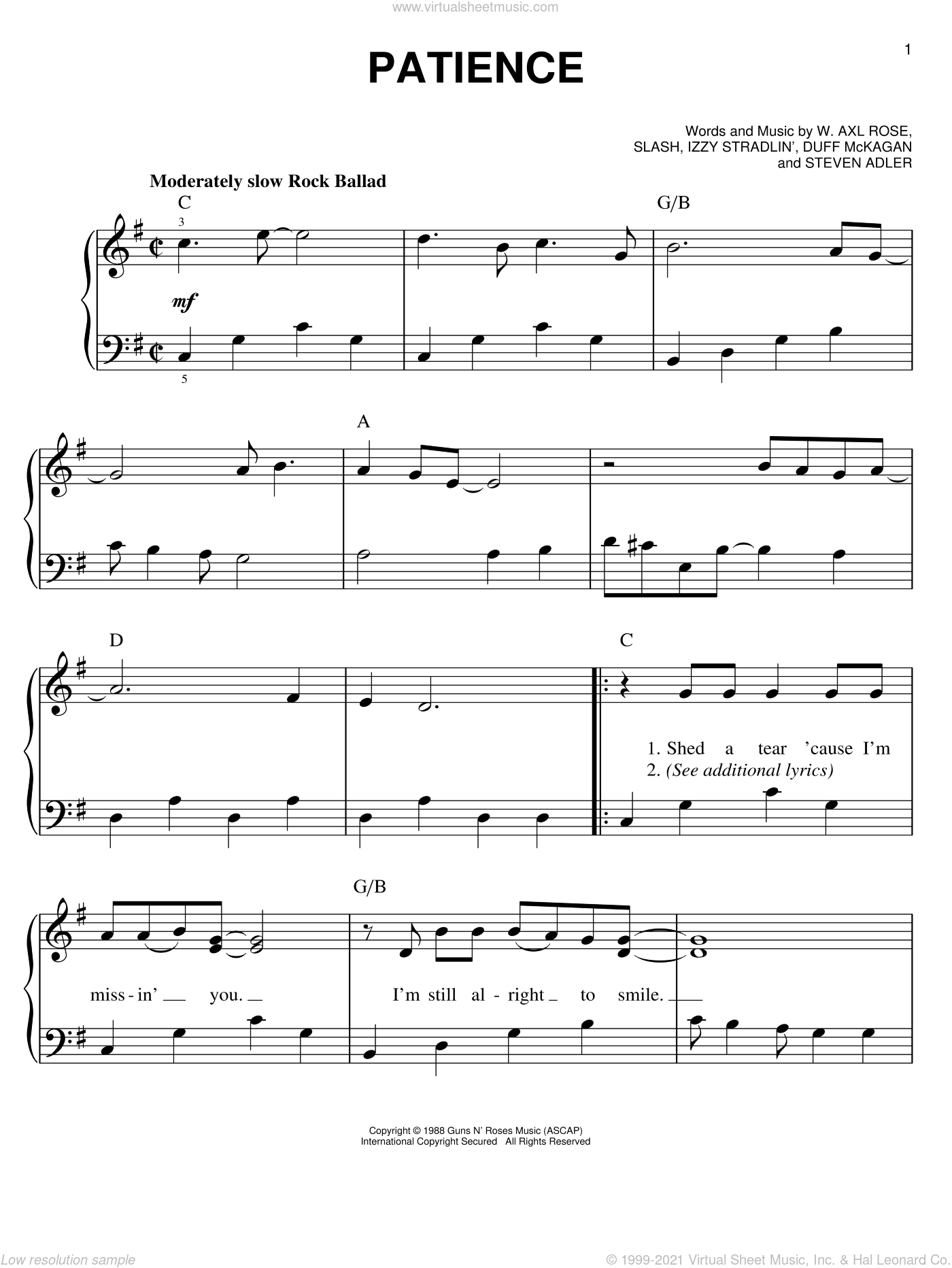 Patience sheet music for piano solo by Axl Rose, Duff McKagan, Slash and Steven Adler. Score Image Preview.