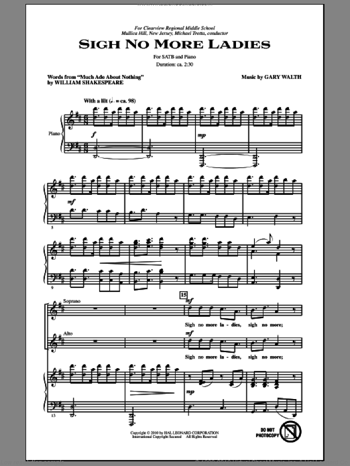 Sigh No More Ladies sheet music for choir and piano (SATB) by Gary Walth