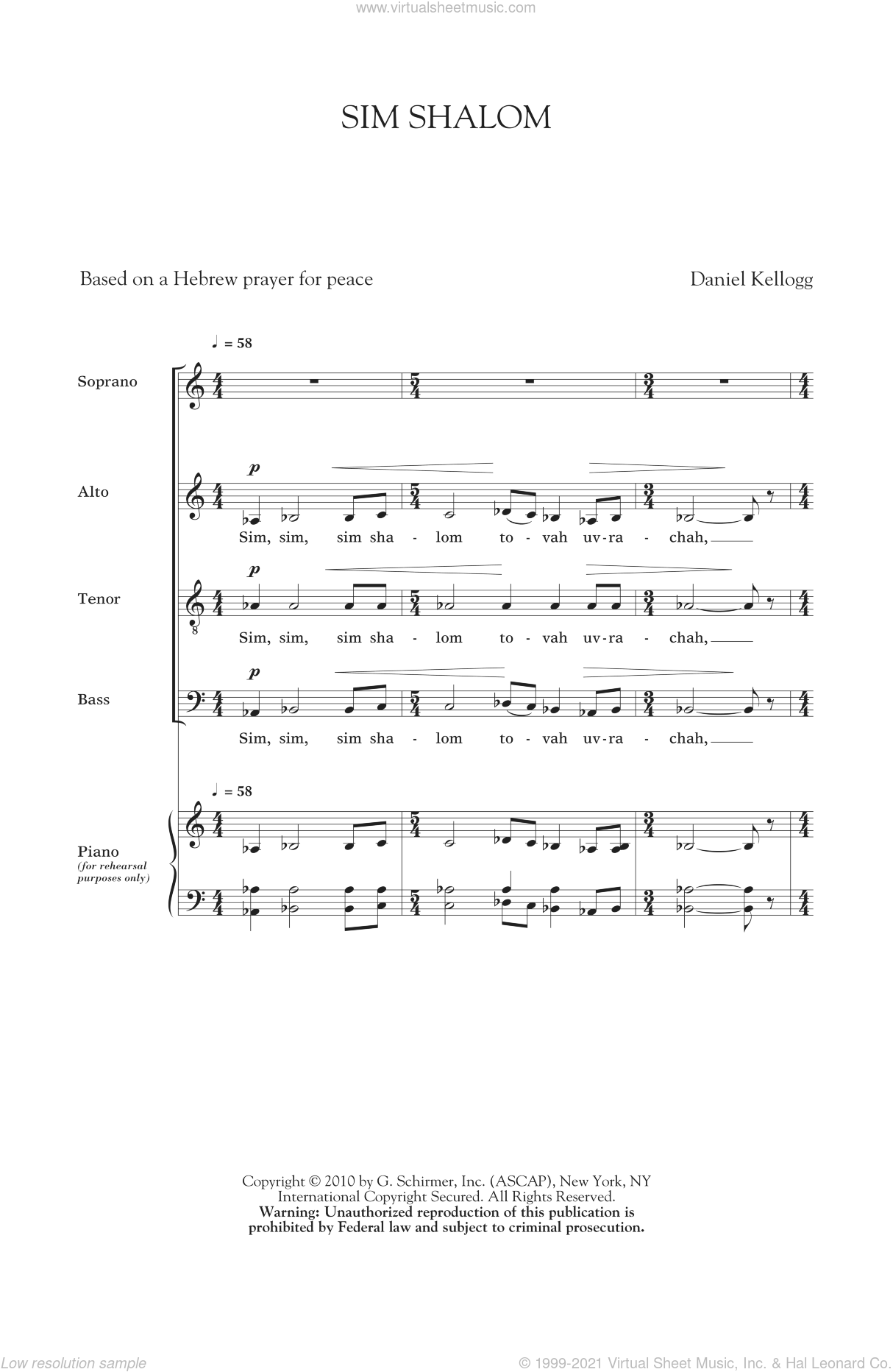 Sim Shalom sheet music for choir (SATB) by Daniel Kellogg, intermediate choir (SATB). Score Image Preview.