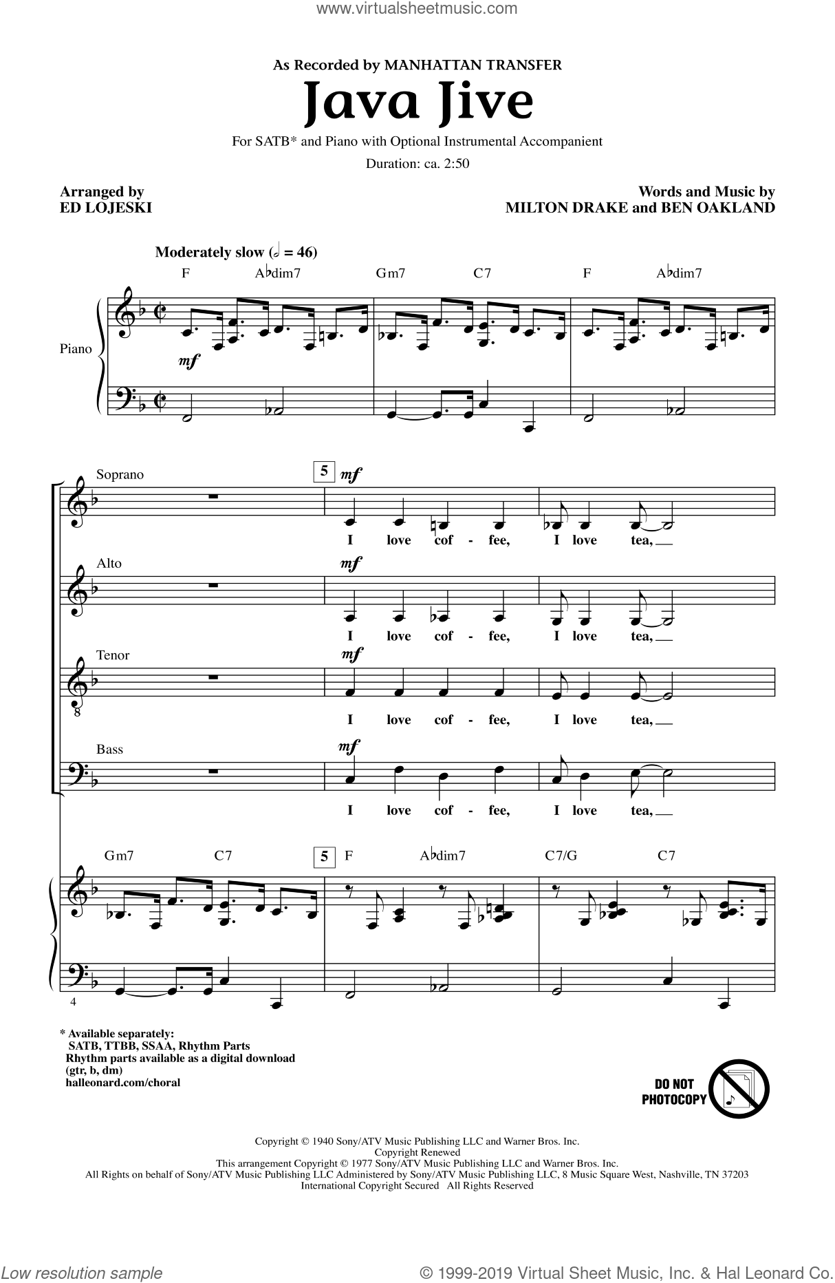 Java Jive sheet music for choir and piano (SATB) by Ben Oakland