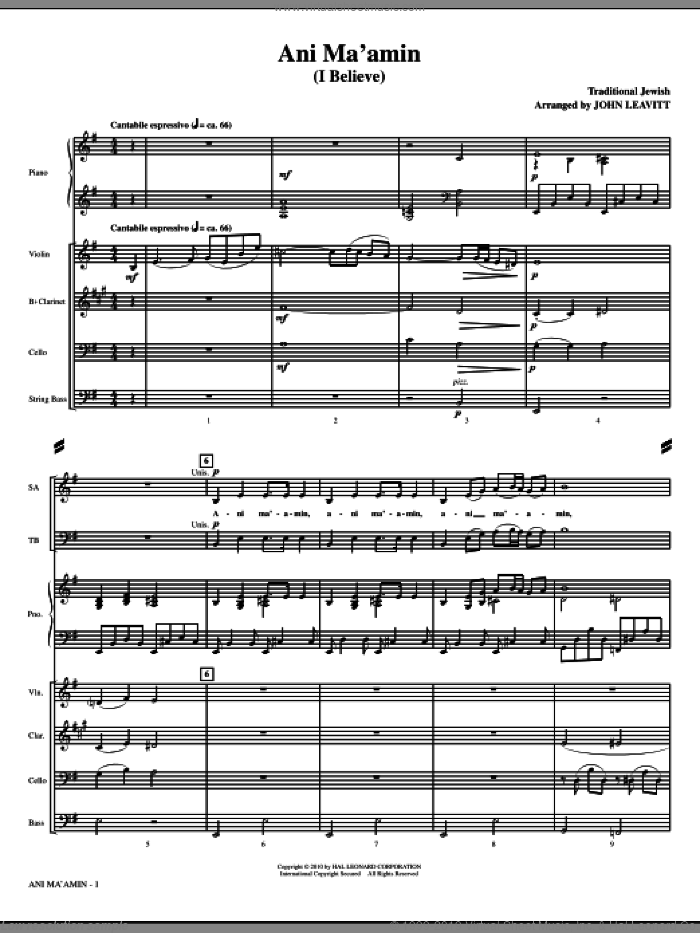 Ani Ma'amin (I Believe) (complete set of parts) sheet music for orchestra/band (Special) by John Leavitt and Miscellaneous, intermediate skill level