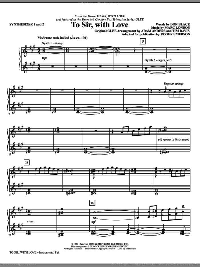 To Sir, With Love (complete set of parts) sheet music for orchestra/band (Rhythm) by Don Black, Marc London, Adam Anders, Glee Cast, Lulu, Miscellaneous, Roger Emerson and Tim Davis, intermediate skill level
