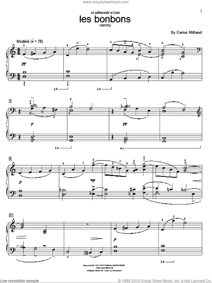 Candy sheet music for piano solo (elementary) by Darius Milhaud. Score Image Preview.
