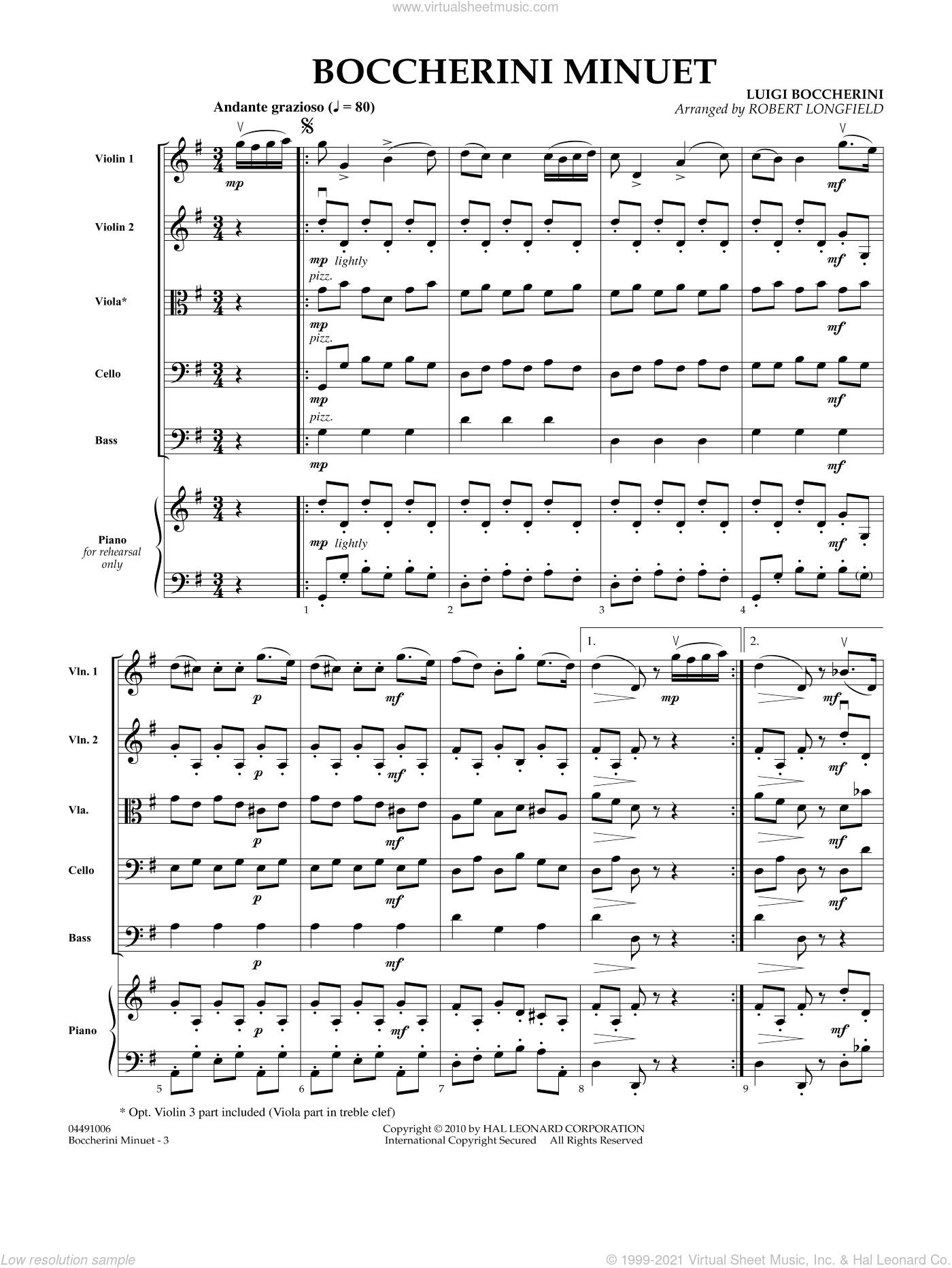 Boccherini Minuet sheet music for orchestra (full score) by Luigi Boccherini