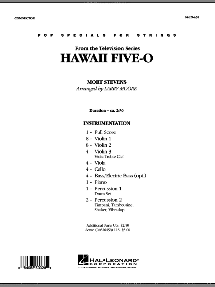Hawaii Five-O sheet music for orchestra (full score) by Mort Stevens