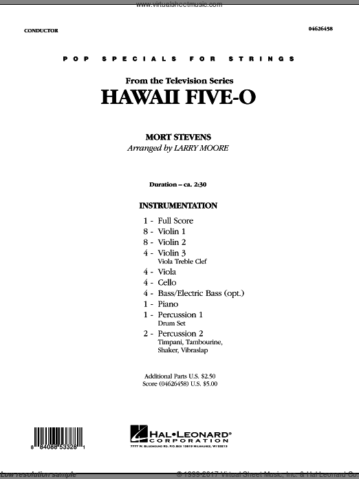 Hawaii Five-O (COMPLETE) sheet music for orchestra by Mort Stevens