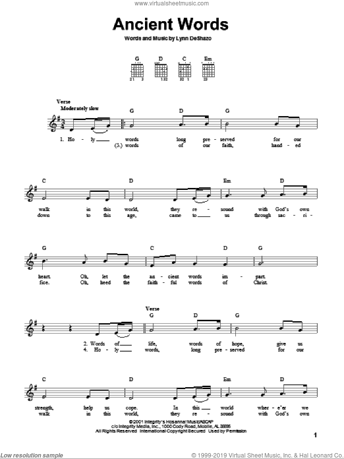 Ancient Words sheet music for guitar solo (chords) by Lynn DeShazo and Robin Mark, easy guitar (chords)