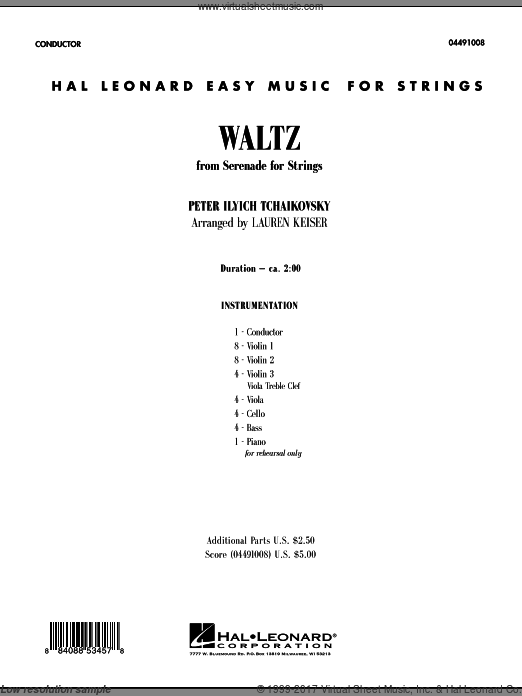 Waltz (from Serenade For Strings) (COMPLETE) sheet music for orchestra by Pyotr Ilyich Tchaikovsky