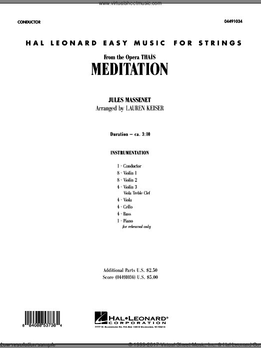 Meditation (COMPLETE) sheet music for orchestra by Jules Massenet. Score Image Preview.
