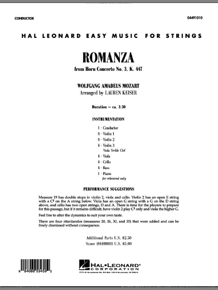 Romanza (from Horn Concerto No. 3, K. 447) (COMPLETE) sheet music for orchestra by Wolfgang Amadeus Mozart and Lauren Keiser, classical score, intermediate