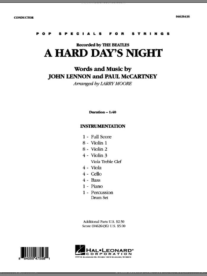 A Hard Day's Night (COMPLETE) sheet music for orchestra by John Lennon, Paul McCartney, Larry Moore and The Beatles, intermediate orchestra. Score Image Preview.