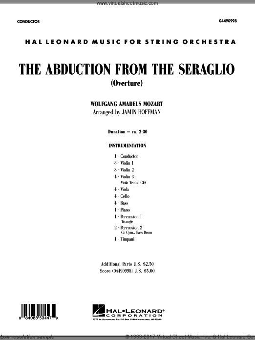 The Abduction From The Seraglio (Overture) (COMPLETE) sheet music for orchestra by Wolfgang Amadeus Mozart