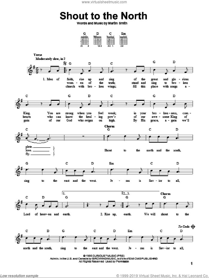 Shout To The North sheet music for guitar solo (chords) by Delirious? and Martin Smith, easy guitar (chords)