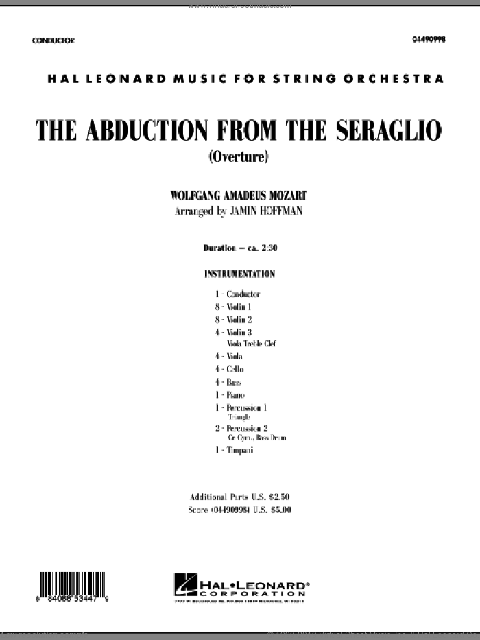 The Abduction From The Seraglio (Overture) (COMPLETE) sheet music for orchestra by Wolfgang Amadeus Mozart and Jamin Hoffman, classical score, intermediate skill level