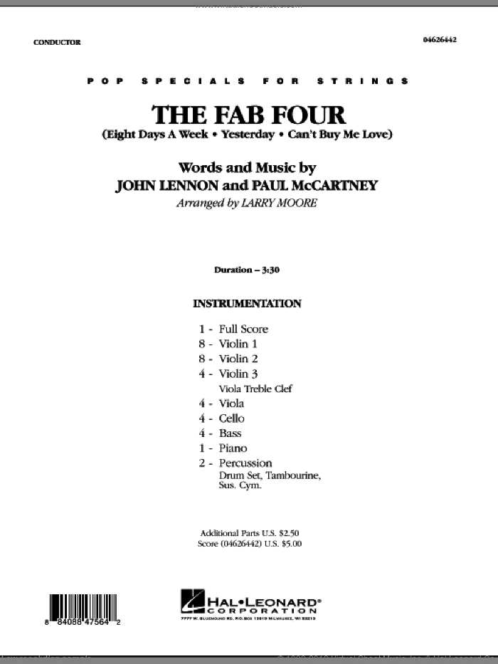 The Fab Four (COMPLETE) sheet music for orchestra by Paul McCartney, John Lennon, Larry Moore and The Beatles, intermediate skill level
