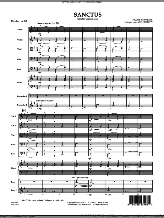 Sanctus (from German Mass) (COMPLETE) sheet music for orchestra by Franz Schubert