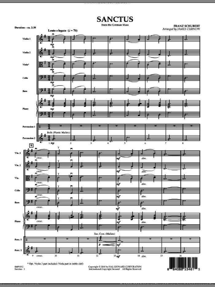Sanctus (from German Mass) (COMPLETE) sheet music for orchestra by Franz Schubert and James Curnow, classical score, intermediate skill level