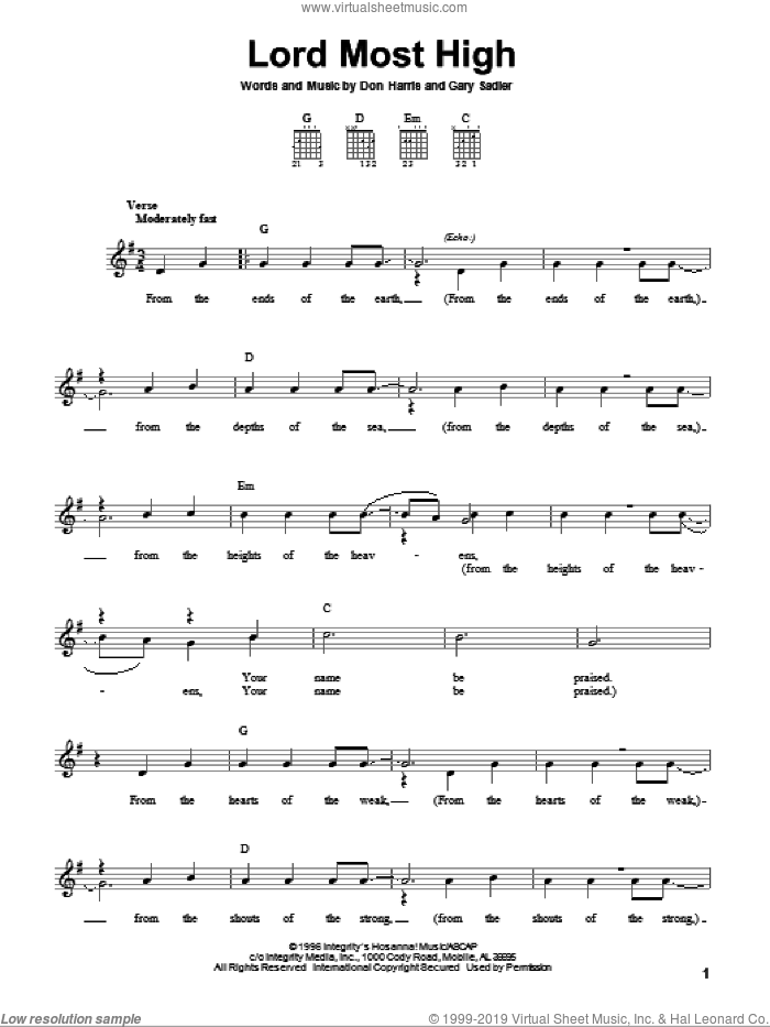 Lord Most High sheet music for guitar solo (chords) by The Martins, Don Harris and Gary Sadler, easy guitar (chords)