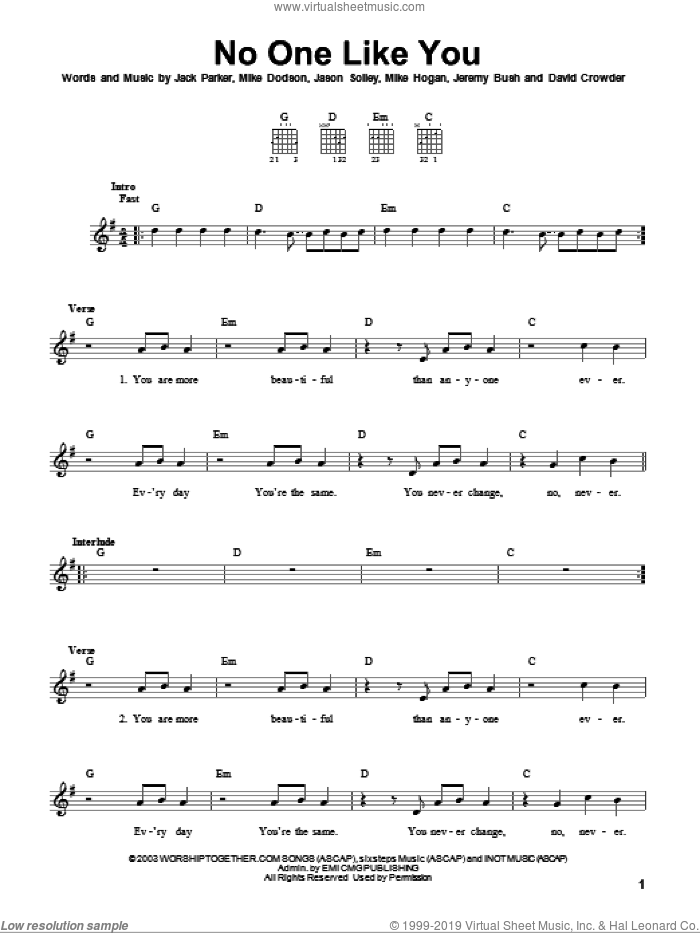 No One Like You sheet music for guitar solo (chords) by David Crowder Band, David Crowder, Jack Parker, Jason Solley, Jeremy Bush, Mike Dodson and Mike Hogan, easy guitar (chords)