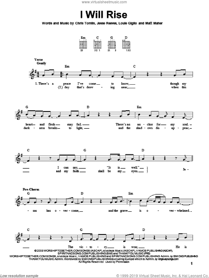 Tomlin - I Will Rise sheet music for guitar solo (chords) PDF