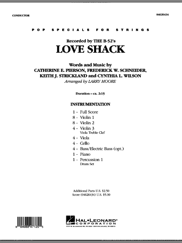 Love Shack (COMPLETE) sheet music for orchestra by Larry Moore, Catherine E. Pierson, Cynthia L. Wilson, Frederuck W. Schneider and Keith Strickland, intermediate. Score Image Preview.