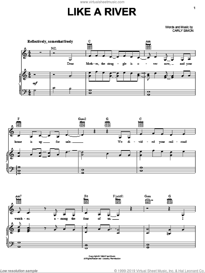Like A River sheet music for voice, piano or guitar by Carly Simon, intermediate skill level