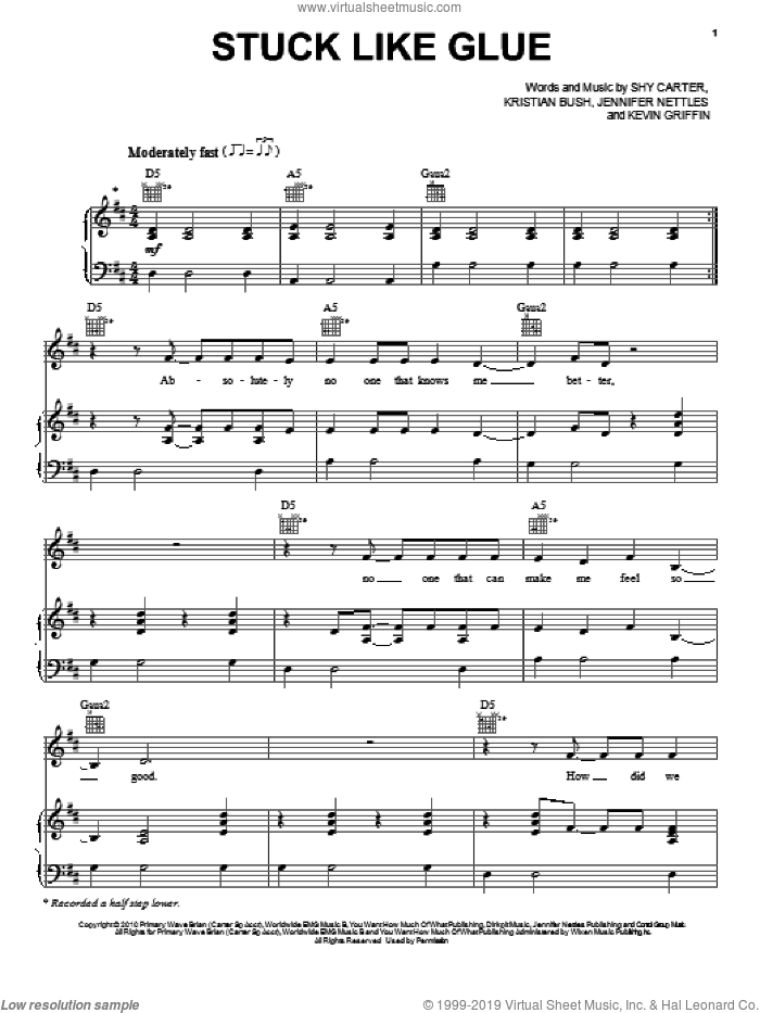 Stuck Like Glue sheet music for voice, piano or guitar by Shy Carter, Sugarland, Jennifer Nettles, Kevin Griffin and Kristian Bush. Score Image Preview.