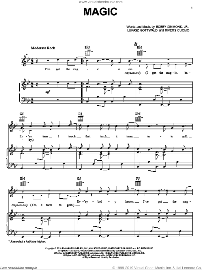 Magic sheet music for voice, piano or guitar by Rivers Cuomo and Lukasz Gottwald. Score Image Preview.