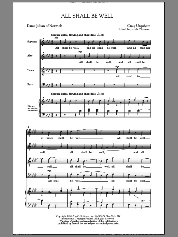 All Shall Be Well sheet music for choir (SATB) by Craig Urquhart and Judith Clurman