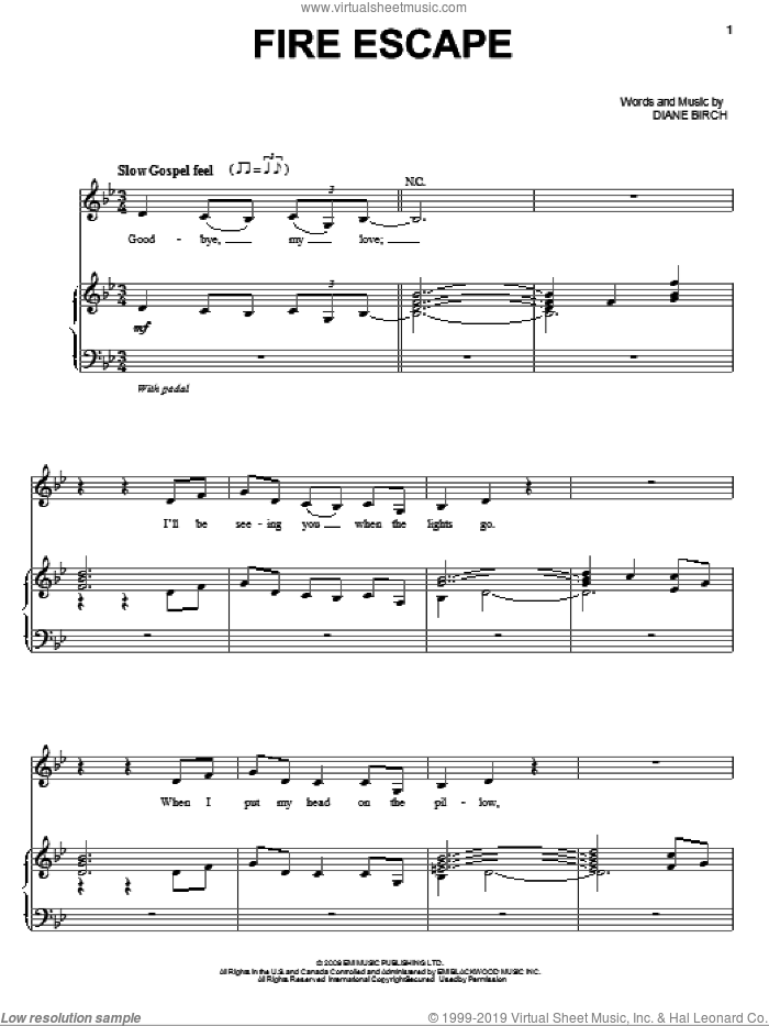 Fire Escape sheet music for voice, piano or guitar by Diane Birch, intermediate voice, piano or guitar. Score Image Preview.