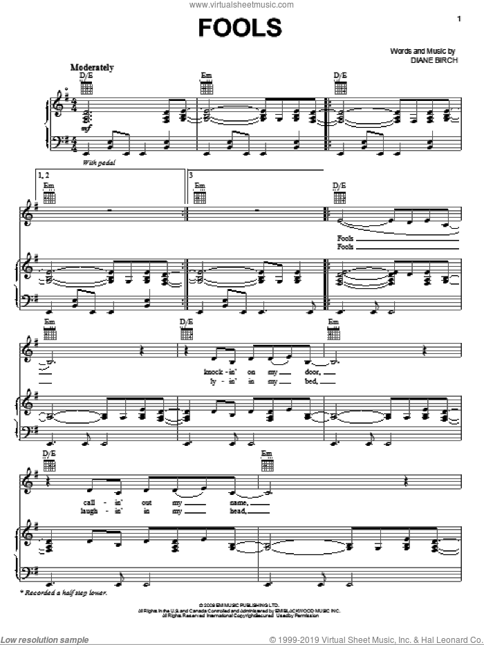 Fools sheet music for voice, piano or guitar by Diane Birch. Score Image Preview.