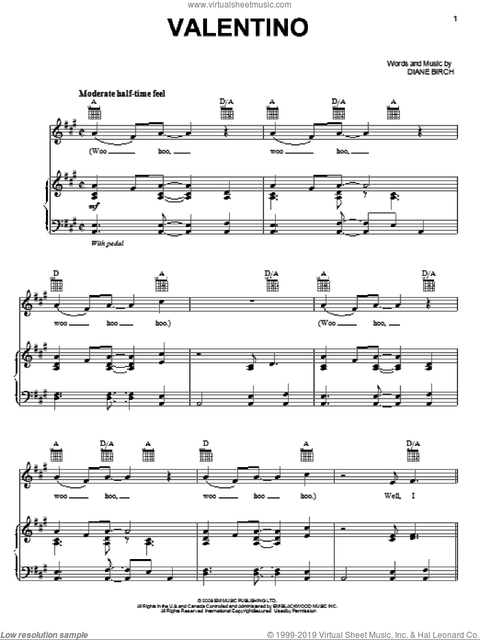 Valentino sheet music for voice, piano or guitar by Diane Birch, intermediate voice, piano or guitar. Score Image Preview.