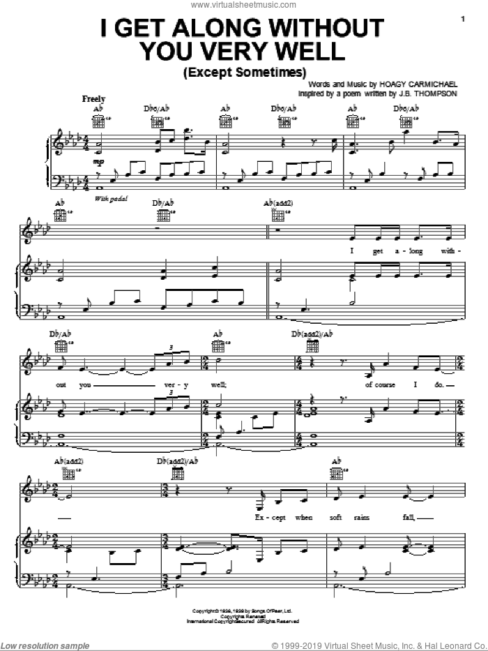 I Get Along Without You Very Well (Except Sometimes) sheet music for voice, piano or guitar by Jamie Cullum and Hoagy Carmichael, intermediate skill level