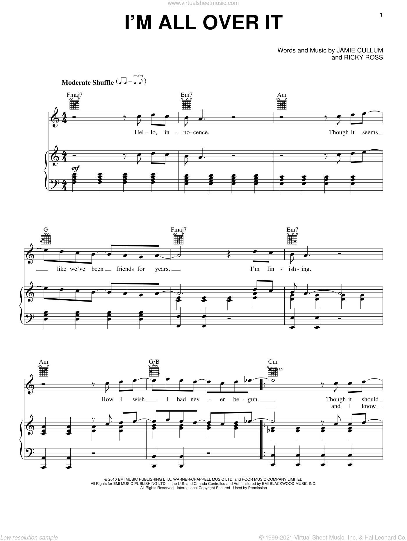 I'm All Over It sheet music for voice, piano or guitar by Jamie Cullum and Ricky Ross, intermediate skill level