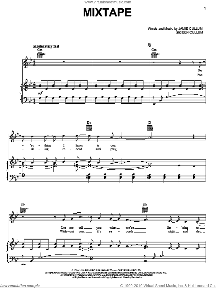 Mixtape sheet music for voice, piano or guitar by Jamie Cullum, intermediate voice, piano or guitar. Score Image Preview.