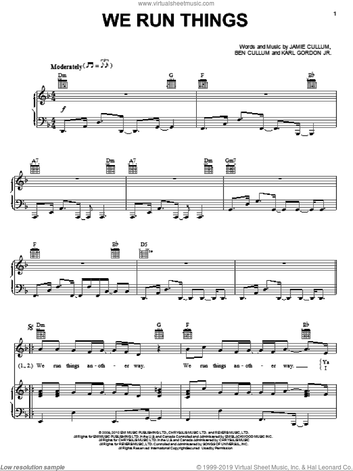 We Run Things sheet music for voice, piano or guitar by Jamie Cullum, intermediate. Score Image Preview.
