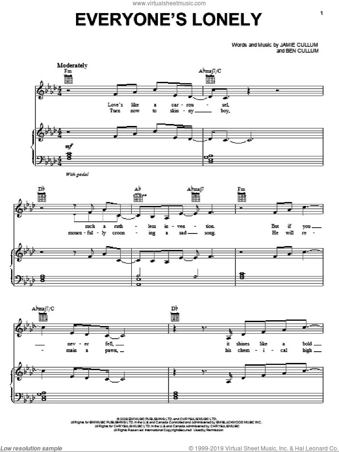 Everyone's Lonely sheet music for voice, piano or guitar by Jamie Cullum and Ben Cullum, intermediate skill level