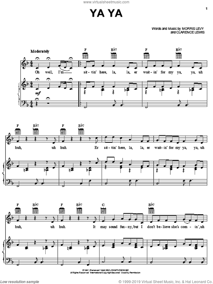 Ya Ya sheet music for voice, piano or guitar by Lee Dorsey, Clarence Lewis and Morris Levy, intermediate skill level