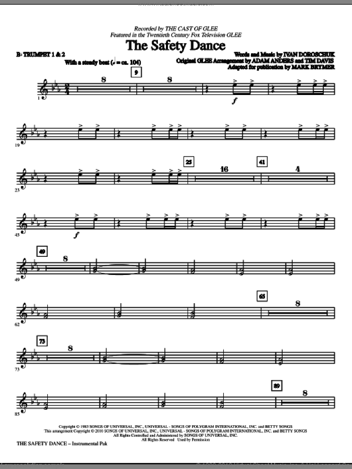 The Safety Dance (complete set of parts) sheet music for orchestra/band (chamber ensemble) by Mark Brymer, Glee Cast, Men Without Hats and Miscellaneous, intermediate orchestra/band (chamber ensemble). Score Image Preview.