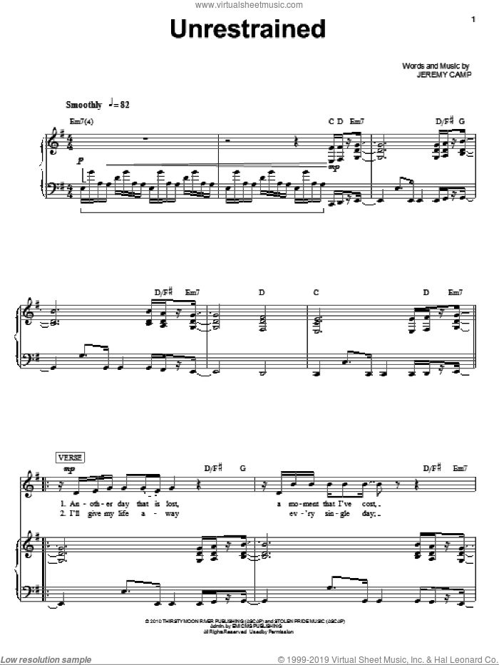 Unrestrained sheet music for voice, piano or guitar by Jeremy Camp, intermediate skill level