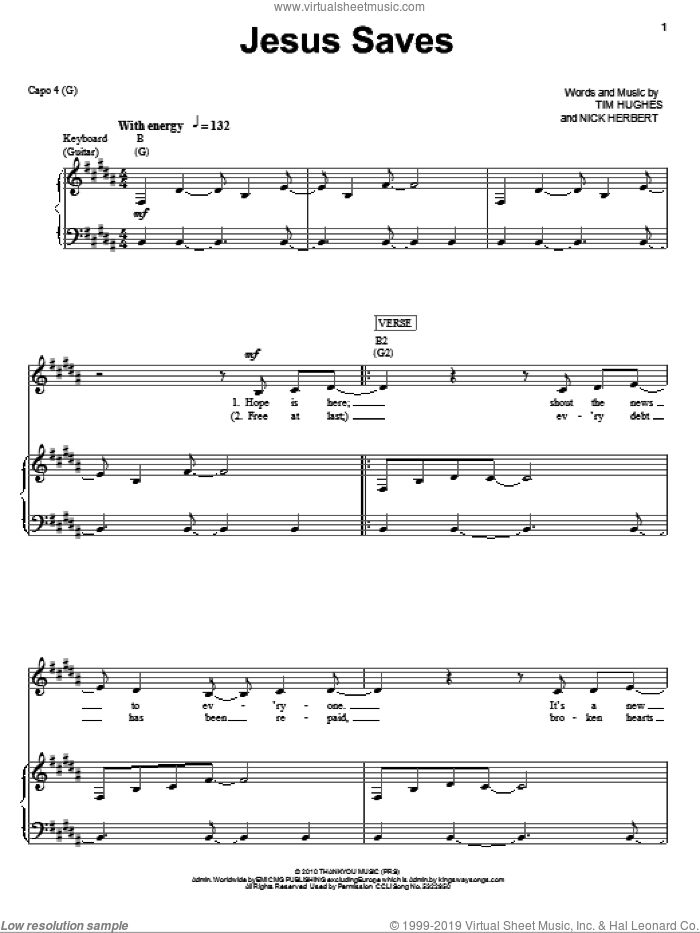 Jesus Saves sheet music for voice, piano or guitar by Jeremy Camp, Nick Herbert and Tim Hughes, intermediate. Score Image Preview.