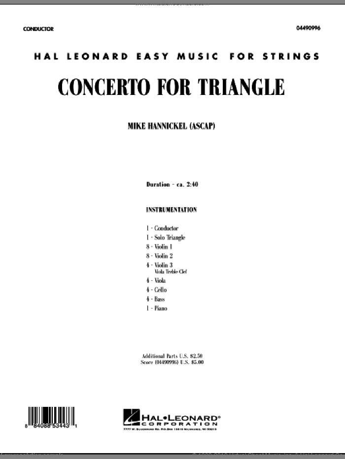Concerto For Triangle sheet music for orchestra (full score) by Mike Hannickel