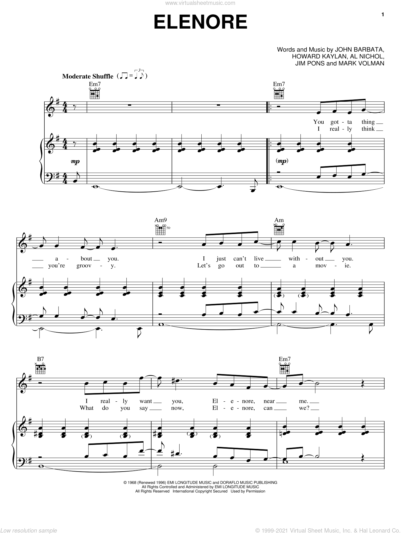 Elenore sheet music for voice, piano or guitar by The Turtles, Al Nichol, Howard Kaylan and Jim Pons, intermediate skill level